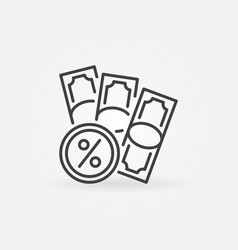 Banknotes with percent sign line icon vector