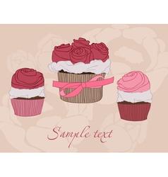 beautiful cupcake card vector image