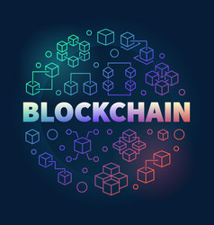 blockchain round concept colorful line vector image