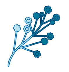 Blue silhouette of branch with small flowers vector