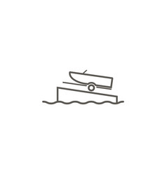 Boat on a ramp icon simple element from map and vector