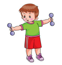boy holds dumbbells on outstretched arms healthy vector image