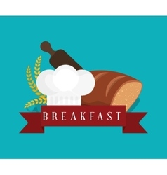 Breakfast bread bakery wheat roller cook hat vector