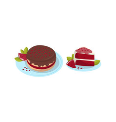 Cake piece and pie pomegranate fruit served on vector