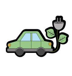 Car transportation with power cable and leaves vector