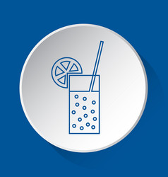 Carbonated drink simple blue icon on white button vector