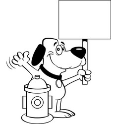 cartoon dog holding a sign next to a fire hydrant vector image