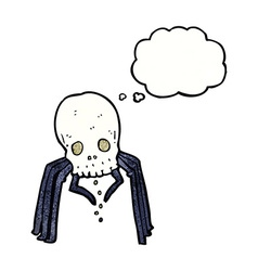 Cartoon spooky skull spider with thought bubble vector