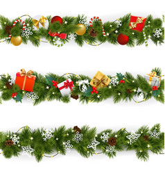christmas border set with garland vector image