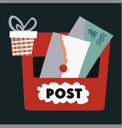 christmas post receiving letters for santa claus vector image