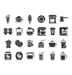 coffee silhouette icons hot drink cup vector image
