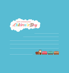 Collection children day greeting card vector