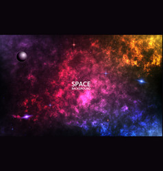 colorful nebula realistic space background color vector image