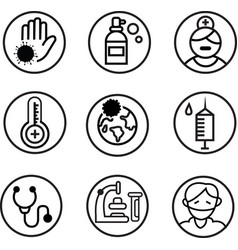 corona virus related medical icon collection vector image