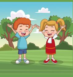 cute kids playing at park vector image