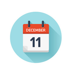 December 11 flat daily calendar icon date vector