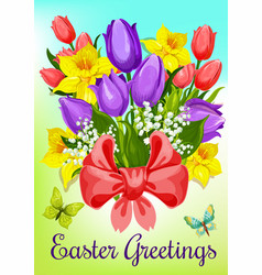 Easter flowers with ribbon greeting card design vector