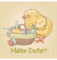 Easter vintage hand drawn card with little chicken vector image
