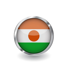 Flag of niger button with metal frame and shadow vector