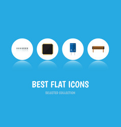 Flat icon technology set of cpu memory vector