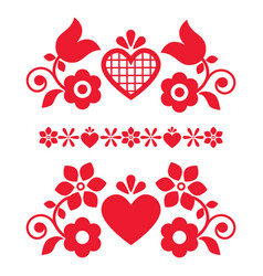 Folk art design elements with flowers vector