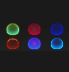 Force shield bubbles various energy glow spheres vector