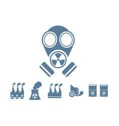 Gas mask with pollution background vector