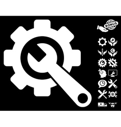 Gear And Wrench Icon With Tools Bonus vector
