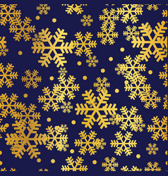 golden navy christmas snowflakes seamless pattern vector image