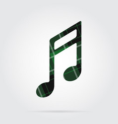 green black tartan isolated icon - musical note vector image