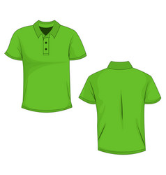 green polo template in front side and back views vector image