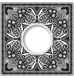 Grey decorative pattern of ukrainian ethnic carpet vector