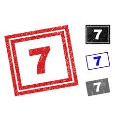 grunge 7 textured rectangle stamp seals vector image