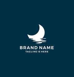 Half moon set rise sea ocean surface water logo vector