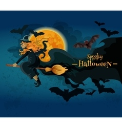 halloween greeting card with witch and full moon vector image