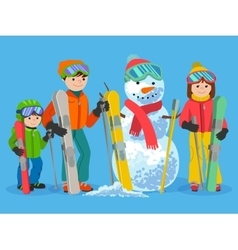 Happy family skiers with snowman vector