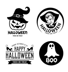 happy halloween black and white design vector image