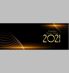 Happy new year 2021 with glowing light on black vector