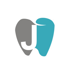 Healthy dental care letter j vector