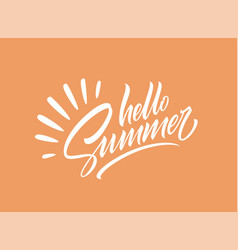 hello summer handwriting lettering isolated vector image