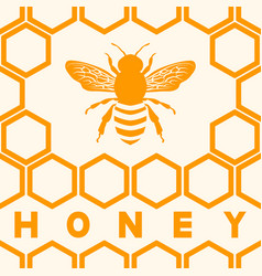honey bee silhouette on honeycomb background vector image