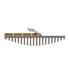 huge bridge with long old vintage steam train vector image