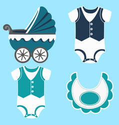 Icon set children clothes vector