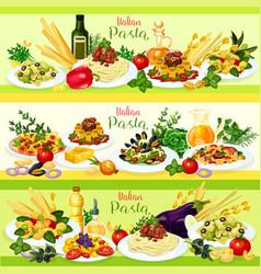 Italian pasta dishes with meat tomato and cheese vector