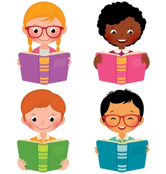 Kids read books vector image