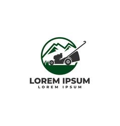 lawn mower mountain logo icon vector image