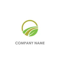 leaf organic round logo vector image