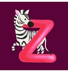 letter Z with zebra animal for kids abc education vector image