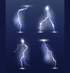 lightning realistic energy glow special weather vector image
