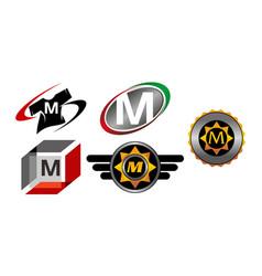 Logotype m modern template set vector